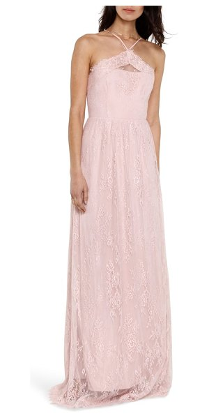Heartloom eloise halter neck lace gown in pink - Scalloped eyelash lace trims and softens the geometric...