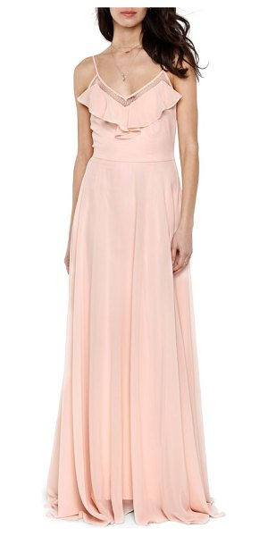 Heartloom francie ruffle v-neck gown in pink - Gracefully draping to a floor-sweeping hem, this elegant...