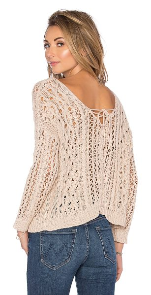 Heartloom Melia sweater in beige - Cotton blend. Front lace-up tie closures. Ribbed trim....