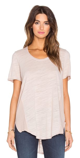 Heather Cotton & gauze scoop neck tee in neutrals - Self: 50% poly, 37% rayon, 13% rayonContrast Fabric:...