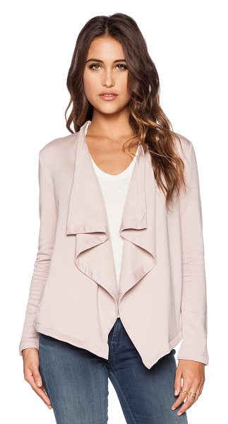 Heather Cross back fleece cardigan in blush - 62% modal 35% cotton 35 spandex. Hand wash cold. Open...