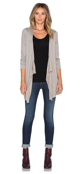 Heather Silk back waterfall cardigan in taupe - Cotton blend. Hand wash cold. Open front. Contrast...