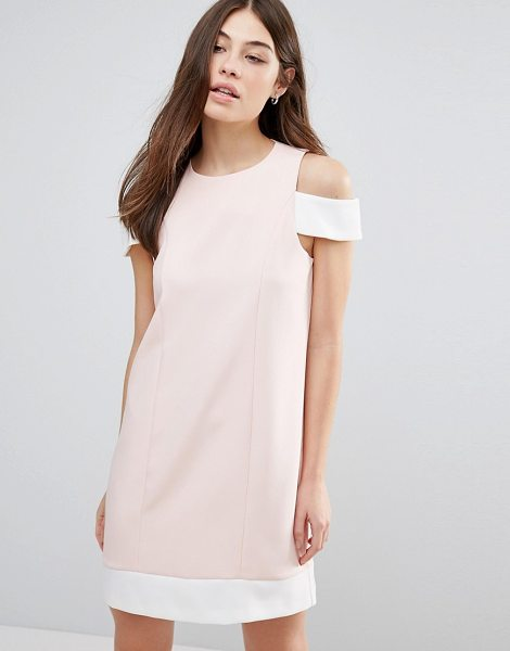 Hedonia Cut Out Shoulder Shift Dress in pink