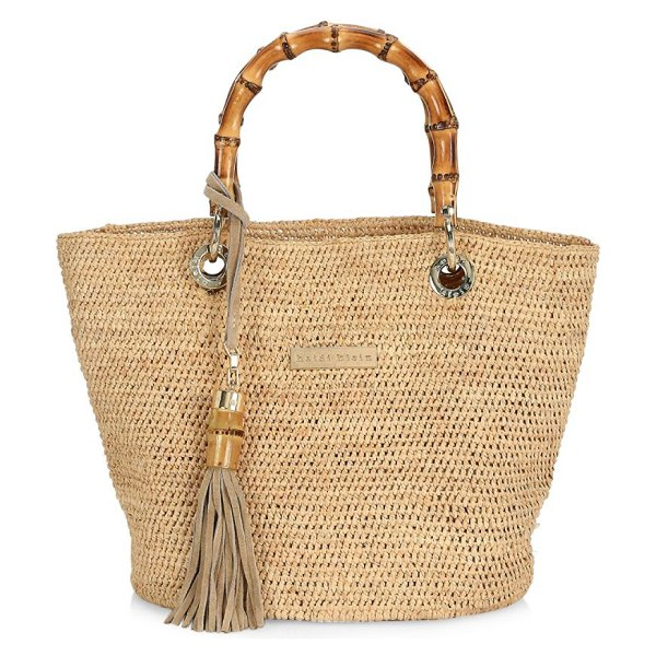 Heidi Klein savannah bay bamboo tote bag in cream - Handwoven and handcrafted 100% natural raffia bag with...