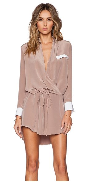 Helena Quinn Danielle Mini Dress in tan - 100% silk. Dry clean only. Surplice neckline. Drawstring...