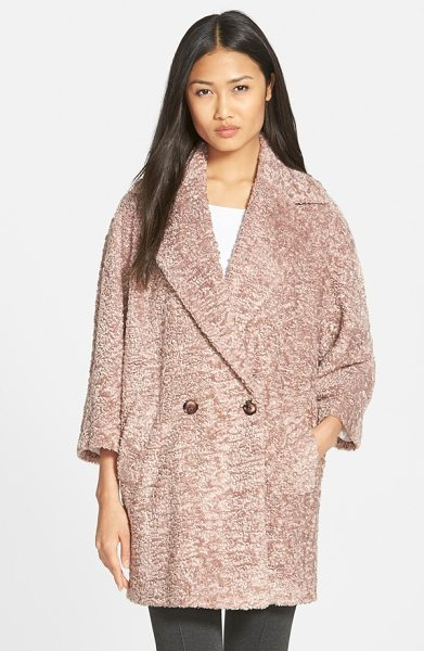 HELENE BERMAN double breasted faux fur coat in pink - Plush texture and a slouchy, oversized silhouette put a...