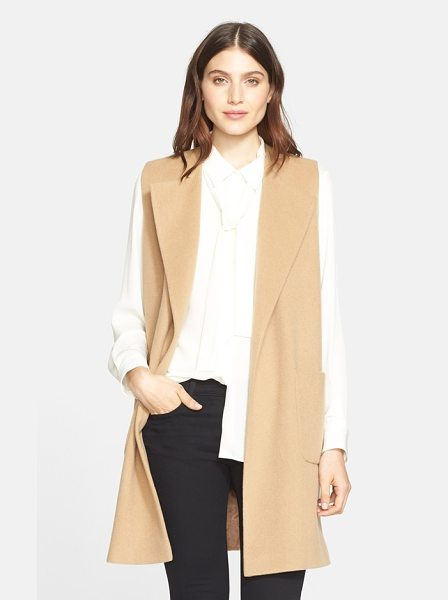 Helene Berman edge to edge wool blend waistcoat in camel