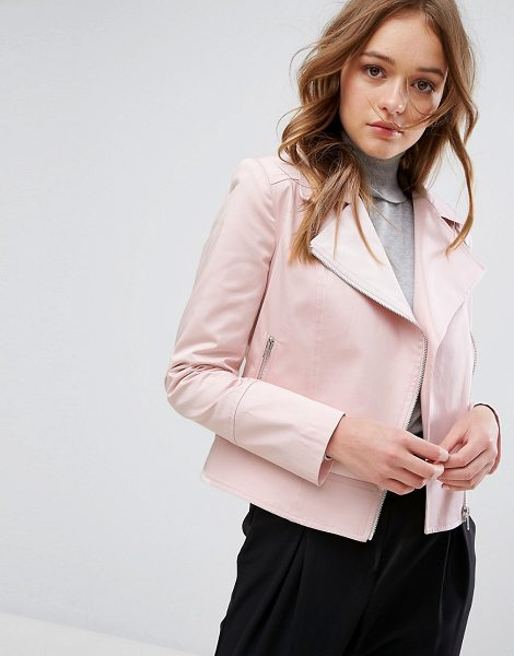 "HELENE BERMAN Pastel Biker Jacket - """"Jacket by Helene Berman, Smooth woven fabric, Notch..."