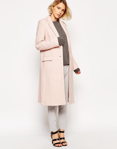 Helene Berman Pink tweed college coat in pink - Coat by Helene Berman Medium-weight, wool-mix fabric...
