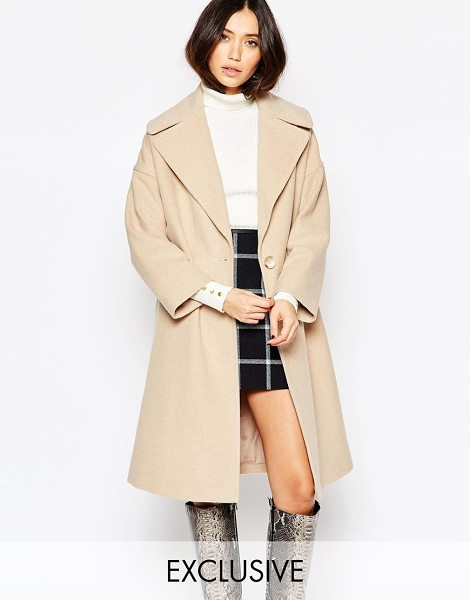 Helene Berman Taupe oversize collar coat in camel - Coat by Helene Berman Made in England Wool-mix fabric...