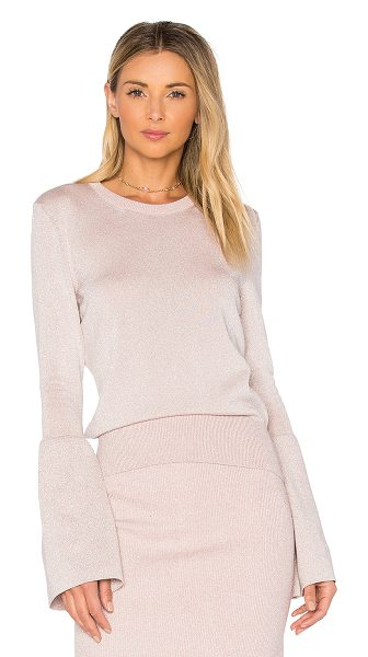 HELFRICH Janis Crew Neck Sweater in pale pink - 100% cotton with lurex. Dry clean only. Banded hem....