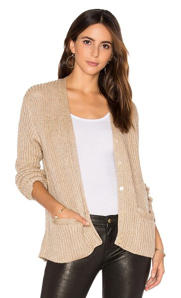HELFRICH Kate Cardigan in beige - 50% poly 50% wool. Dry clean only. Button front...