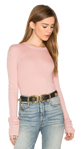 HELFRICH Lily Crew Neck Sweater in pale pink - Cotton blend. Hand wash cold. Rib knit fabric....