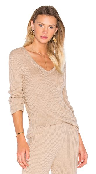 HELFRICH Mimi V Neck Sweater in beige - 85% cotton 15% cashmere. Dry clean only. Rib knit...