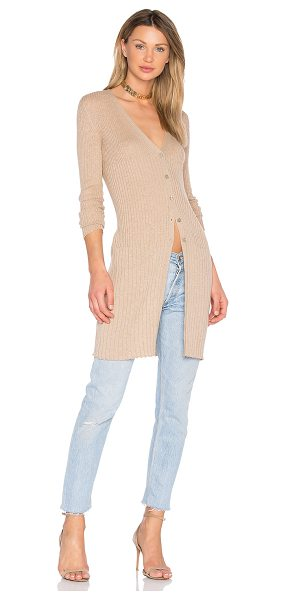 HELFRICH Teddy Cardigan in camel - 85% cotton 15% cashmere. Button front closures. Rib knit...