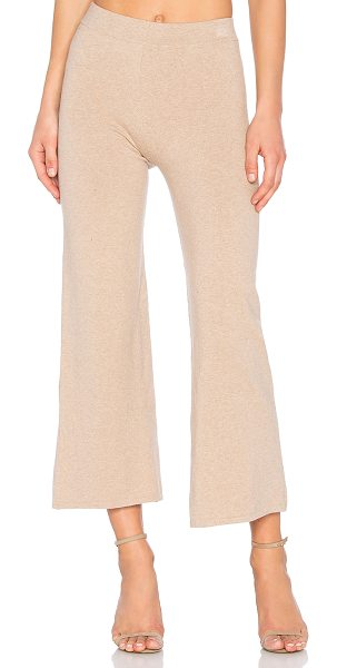 HELFRICH Toni Pant in beige - 85% cotton 15% cashmere. Elastic waist. Knit fabric....