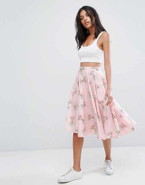 "Hell Bunny Deery Me 50's Skater Skirt in pink - """"Skirt b Hell Bunny, Cotton-stretch fabric, Deer print,..."