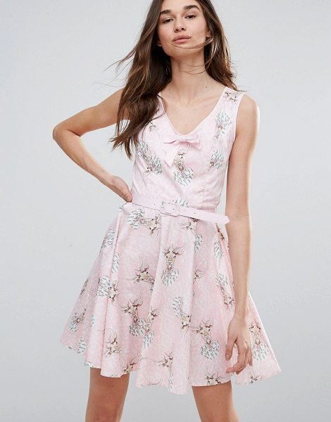 """Hell Bunny Deery Me Printed Mini Skater Dress in pink - """"""""Casual dress by Hell Bunny, Cotton-stretch fabric,..."""