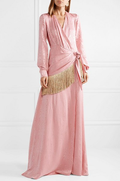 Hellessy emerson fringe-trimmed moire wrap maxi dress in pink