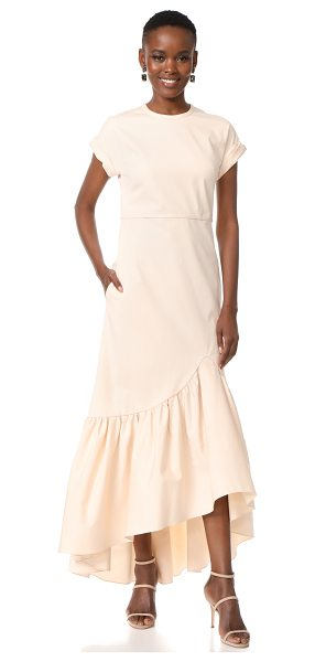 HELLESSY ravena cap sleeve dress in powder pink - A ruched, high-low hem brings dramatic volume to this...