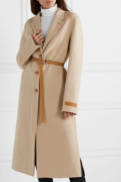 Helmut Lang belted layered wool and cashmere-blend coat in beige