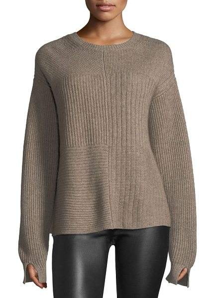 HELMUT LANG Crewneck Long-Sleeve Textured Pullover Sweater - Helmut Lang sweater in cashmere blend. Crew neckline....