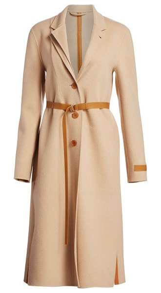 Helmut Lang double lapel wool & cashmere overcoat in camel