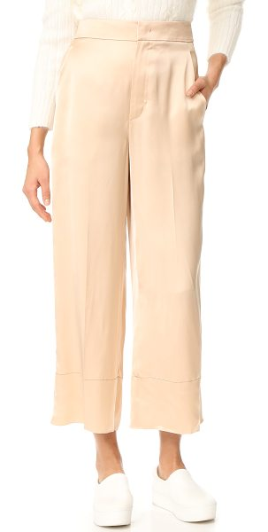 Helmut Lang double satin pants in sandstorm - Fluid satin brings glamorous style to these ultra-wide...