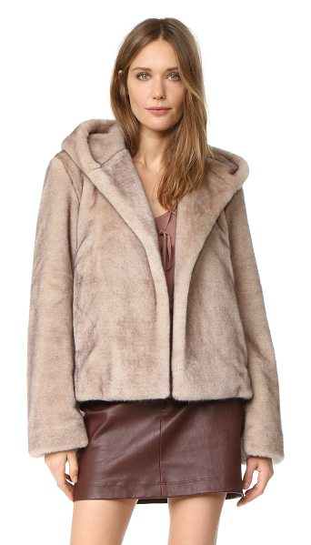 Helmut Lang Faux mink bomber in ecru - Soft faux fur lends glamour to this hooded Helmut Lang...