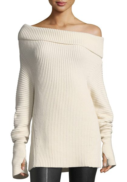 HELMUT LANG Folded Off-the-Shoulder Ribbed Long Sweater - EXCLUSIVELY AT NEIMAN MARCUS Helmut Lang sweater in wide...