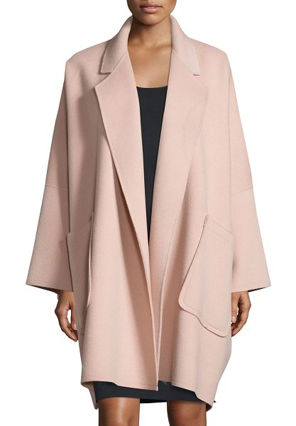 Helmut Lang Oversized Open-Front Wool-Blend Coat in dusty pink - Helmut Lang wool-blend coat, featuring cape-style...