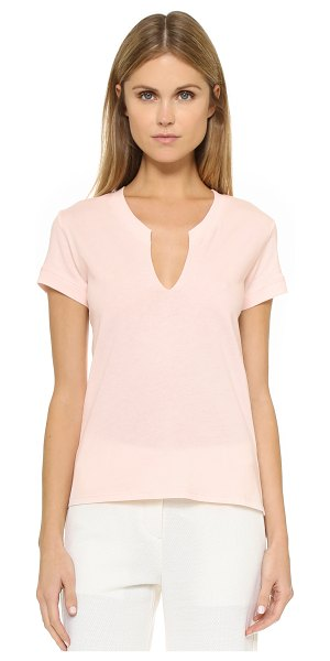 Helmut Lang Rippled v neck tee in light pink - A casual Helmut Lang tee, updated with a notched, uneven...