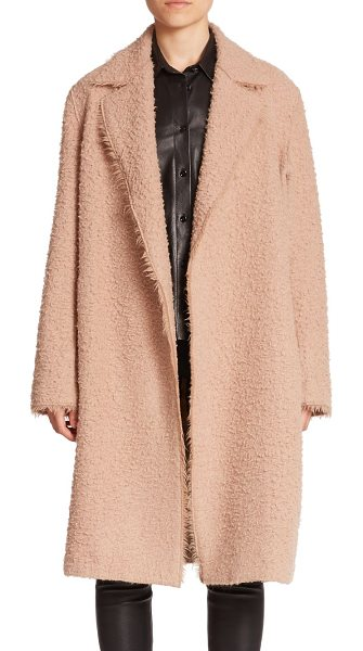 HELMUT LANG Shaggy alpaca & virgin wool coat in nude - Alpaca and virgin wool blend to form this shaggy topper,...