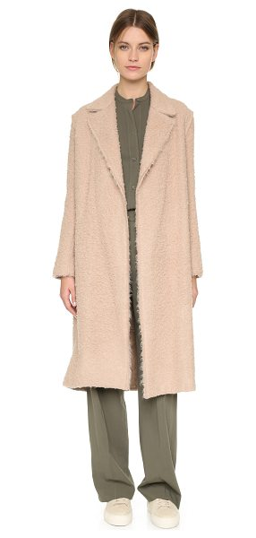 Helmut Lang Shaggy coat in nude - A napped finish lends rich texture to this cozy Helmut...
