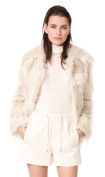 Helmut Lang shawl collar faux fur jacket in chalk/cream - A Helmut Lang jacket made from shaggy faux fur....