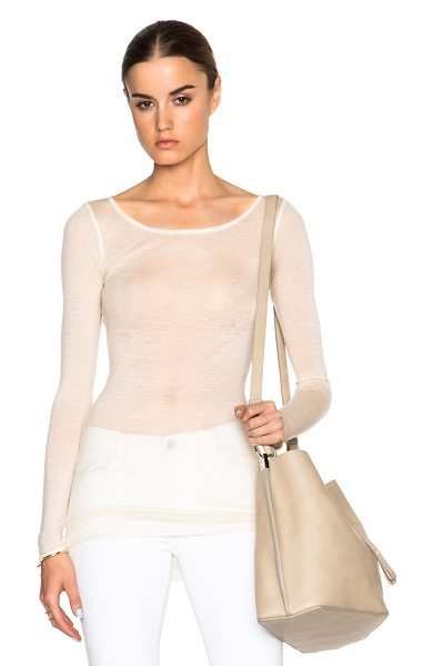 Helmut Lang Sheer long sleeve crew tee in neutrals - 100% wool.  Made in USA.