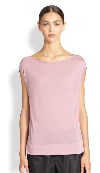 Helmut Lang Slack jersey cap-sleeved top in rind - Lightweight jersey knit is rendered in a relaxed, yet...