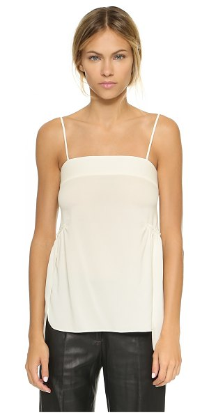 Helmut Lang Spaghetti strap tank in ecru - An easy Helmut Lang top in a luxe silk blend, accented...