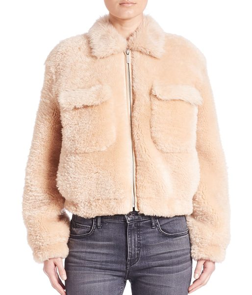 HELMUT LANG teddy shearling jacket - Cropped cold-weather topper of cozy shearling. Spread...