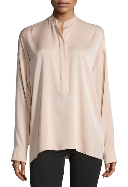 "Helmut Lang Tie-Back Stretch Silk Top in blush - Helmut Lang top in stretch silk. Approx. 26""L from..."