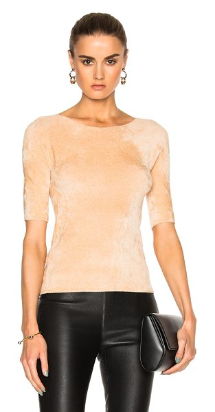 Helmut Lang Velveteen Top in neutrals - 63% viscose 37% polyamide.  Made in USA.  Dry clean...