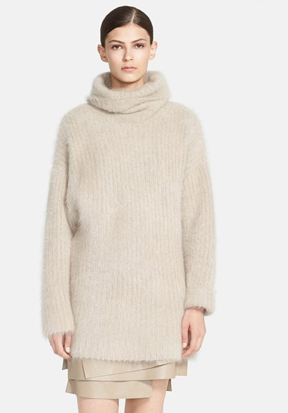 Helmut Lang veneered angora blend turtleneck sweater in light taupe - A slouchy turtleneck and dropped shoulders help shape...