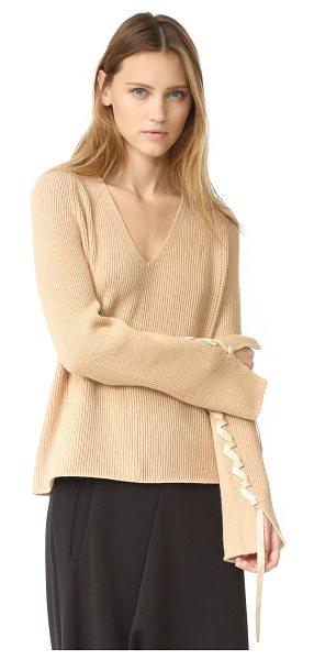 Helmut Lang wool cashmere v neck sweater in sand - A relaxed Helmut Lang sweater, styled with a smooth V...