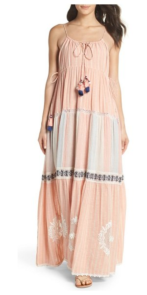 HEMANT AND NANDITA hemant & nandita cover-up maxi dress in peach - Your getaway bag just got a whole lot lighter with this...