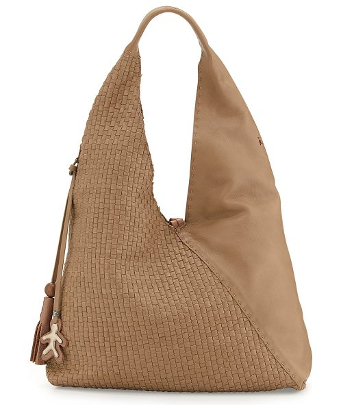 Henry Beguelin Canotta Woven Leather Hobo Bag in dark taupe - Henry Beguelin woven leather hobo bag. Silvertone...