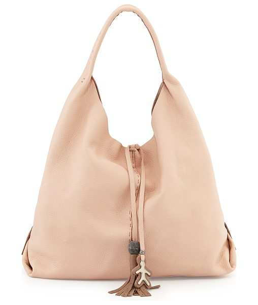 Henry Beguelin Draped Soft Leather Hobo Bag in cream - Henry Beguelin soft grained leather hobo bag. Pick...