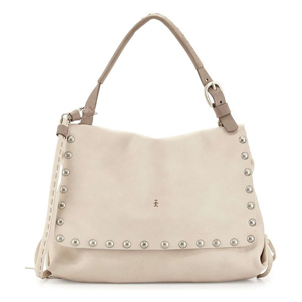 Henry Beguelin Studded leather shoulder bag in bone -  Henry Beguelin tumbled leather shoulder bag. Shiny...