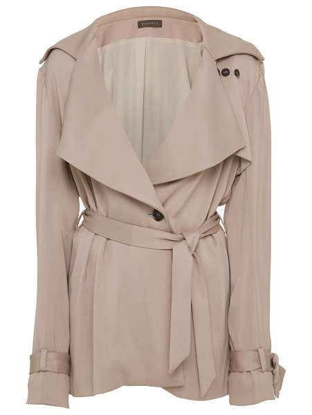 Hensely Knot Trench Jacket in neutral - This *Hensely* Knot Trench Jacket features a surplice...