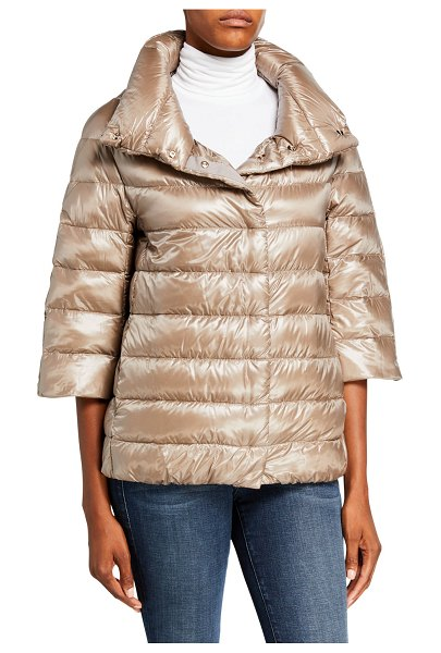 HERNO 3/4 Sleeve Cocoon Quilted Puffer Coat in taupe