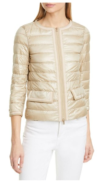 HERNO classic grosgrain trim nylon down puffer jacket in metallic